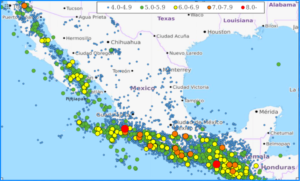 Map of earthquakes in Mexico from 1990 to 2017